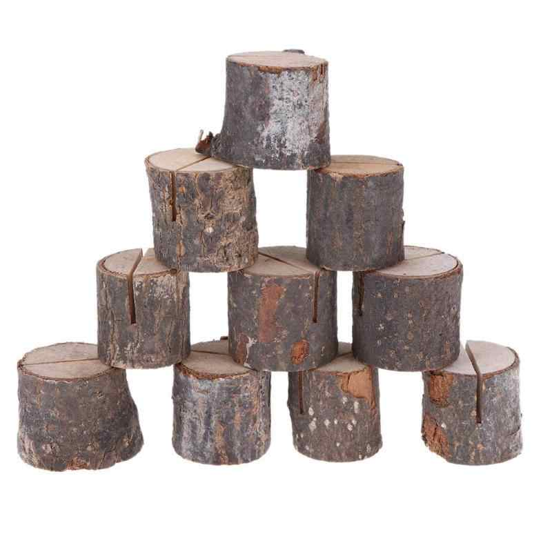 10pcs/lot Wood Pile Name Place Card Photo Holders Natural Wooden Stump Shape Menu Number Clip Stand Wedding Party Table Decor
