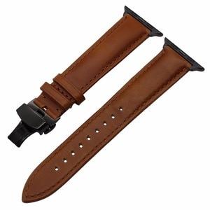Image 4 - ของแท้หนังสำหรับIWatch Appleนาฬิกา 5 4 3 2 38 มม.40 มม.42 มม.44 มม.เหล็กผีเสื้อClaspสายรัดข้อมือเข็มขัด