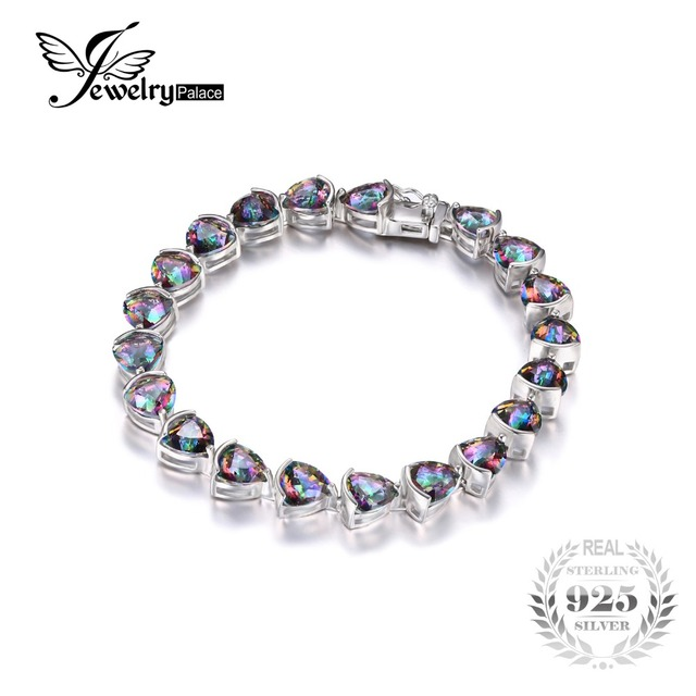 JewelryPalace 26ct Triangle Stone Rainbow Fire Mystic Topazs Bracelets Solid 925 Sterling Silver Jewelry Bracelet For Women Gift
