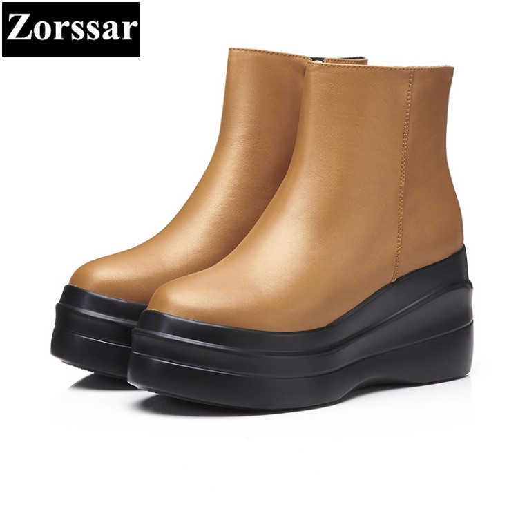 {Zorssar} 2017 NEW Autumn winter Women Boots High heels platform Ankle Martin Boots Female Genuine Leather casual womens shoes
