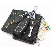 2016 Key Holder бумажник 100% натуральная кожа мужчины твердые ключ кошелек органайзер Bag автомобилей экономка держатель кошелек Кредитная карта чехол