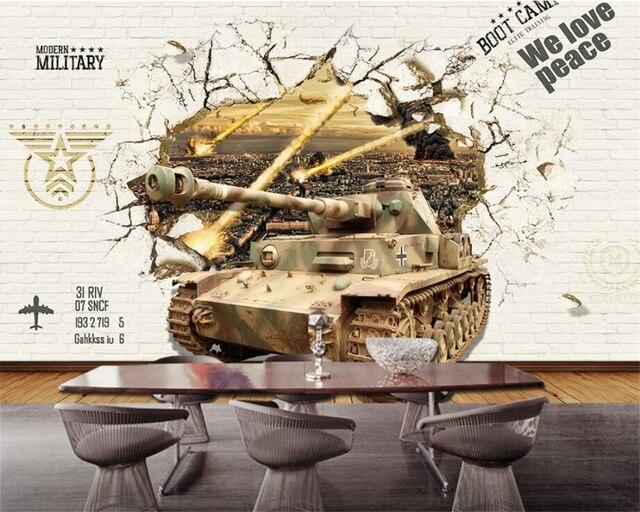 Custom Silk Photo Wallpaper Hd Military Tank Wall: Beibehang Custom Wallpaper Europe And America Retro Living