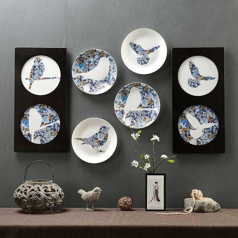 Flower and bird wall hanging plate creative secret garden decorative dish wallpapers molds colorful flying bird hotel bar decor-in Bowls \u0026 Plates from Home ... & Flower and bird wall hanging plate creative secret garden decorative ...