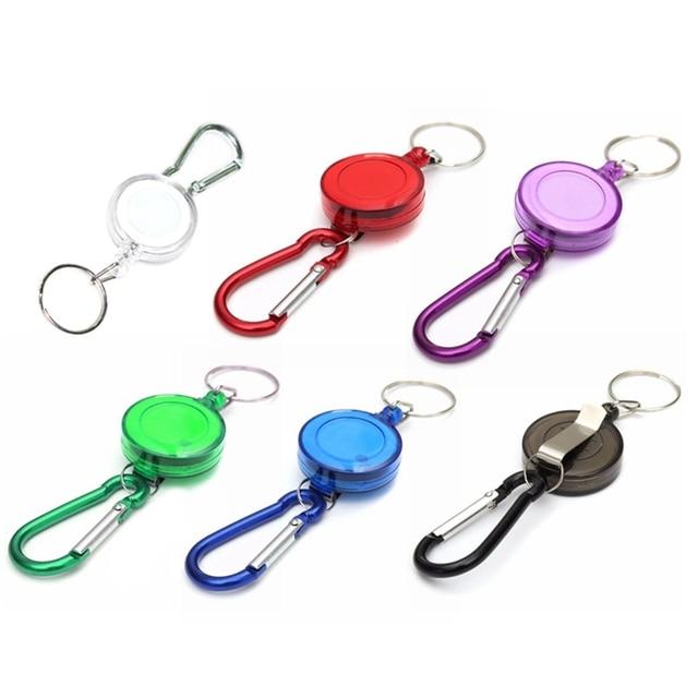 Hot Mulitifunctional Multicolor Badge Reel Retractable Keychain Recoil Yoyo Ski Pass ID Card Holder Keyring Key Chain Steel Cord