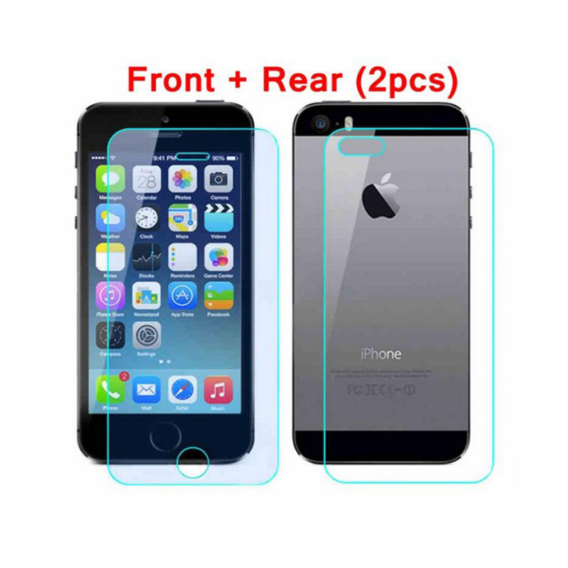Front & Back (2pcs) High Quality Tempered Glass Premium Real Film Screen Protector Guard for apple iphone5 5S 4 4S protect glass
