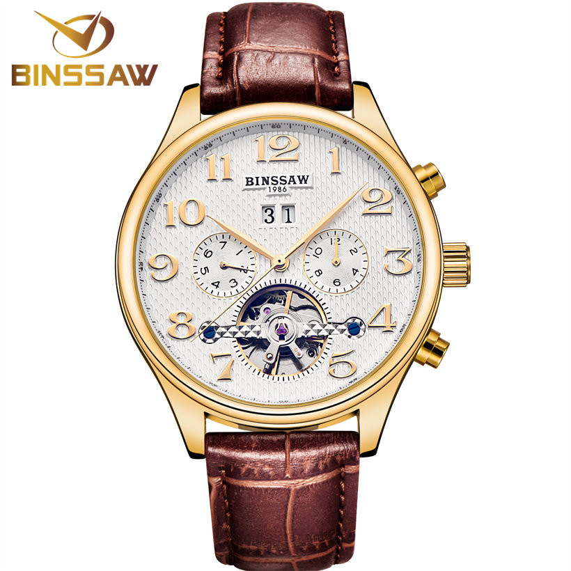 BINSSAW Mens Watches Top Brand Luxury Tourbillon Automatic Mechanical Watch Fashion Men Business Leather Wrist Watch Relogios mens watches top brand luxury 2017 aviator white automatic mechanical date day leather wrist watch business reloj hombre