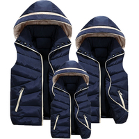2016 Winter Casual Matching Family Clothes For Mother Father Daughter Son Vest Thicken Solid Removable Hoody