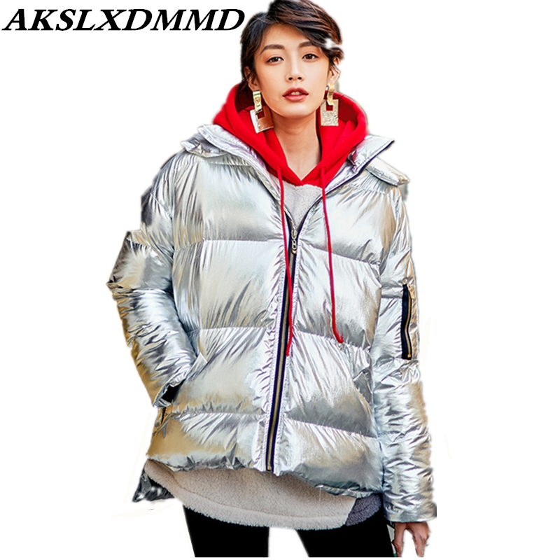 2019 New Women Winter Jacket Warm Thicken Loose Large Size Cotton Coat Fashion Trendy Solid Europe Street   Parka   Outerwear CW126
