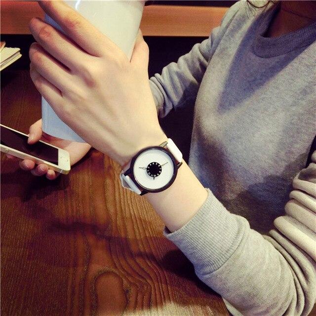 Simple Fashion Korean Lovers Couple Quartz Watch Leather Clock Men And Women Wri