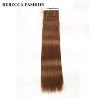 Rebecca Remy Medium Brown Human Hair Bundles Straight 6 Brazilian Hair Weave Bundles For Salon High
