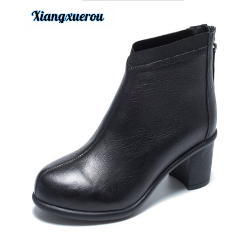 Xiangxuerou 2018 autumn and winter new casual leather women's short boots thick with round head low upper shoes top layer of cow цена 2017