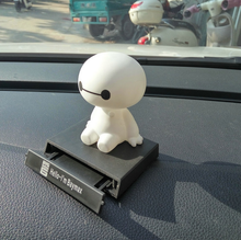 1pcs Big Hero 6 Baymax Toy Model Dolls figma 12cm Lovely Cute Automobile Head Shaking Action