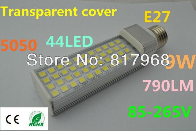 Transparent cover LED Bulb 220v 9W 5050 SMD 44 LED e27 Corn Light  Cool White/Warm White 85V-265V Side lighting certification