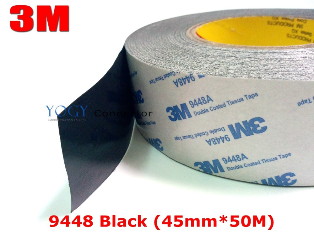 3M Black, 45mm* 50 meters 3M BLACK 9448 Double Sided Adhesive Tape Sticky for LCD /Screen /Touch Dispaly /Housing /LED 3m adhesive tape bicycle helmet mount for 1 4 camera black
