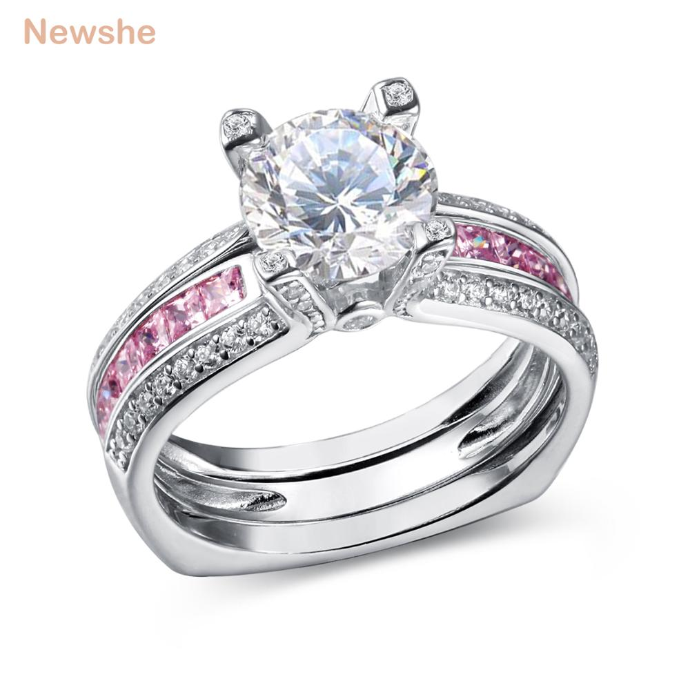 Newshe 1.8 Ct Round AAA CZ Solid 925 Sterling Silver Multi Color Wedding Engagement Ring Bridal Sets Trendy Jewelry For Women newshe 925 sterling silver rose gold color dangle drop earrings 6 ct red rhinestone heart shape aaa cz fashion jewelry for women