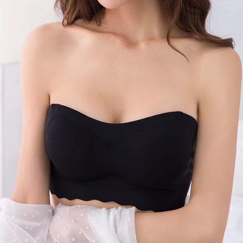 Fikoo Strapless Slip Bras Women Push Up Chest Sticker Thin Invisible Bra Lingerie Underwear
