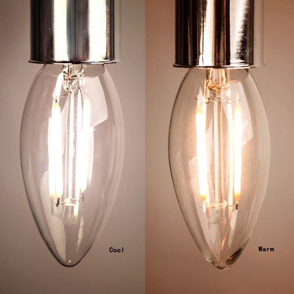 Dimmable E14 4W 6W LED Filament Edison Bulb Candle Clear Glass Light Lamp Globe LED Bulb