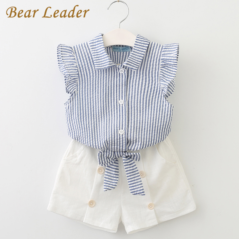 Bear Leader Girls Clothing Sets 2017 Summer Fashion Style Kids Clothes Sleeveless Striped T-shirt+White Short Pants 2Pcs Suits