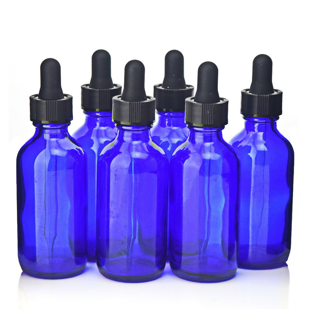 6 X 60ml Empty 2 Oz Cobalt Blue Glass Liquid Reagent Pipette Bottle with eye dropper for essential oil aromatherapy lab chemical 2x30ml skull shape glass dropper bottle e juice head glass eliquid dropper bottle glass dropper bottle jars vials with pipette