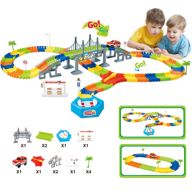 Flexible Racing Track Set 28/96/144/192PCS Race Track with Car Assembly Flexible Glowing Tracks Vehicle Toys Children Kids Gifts