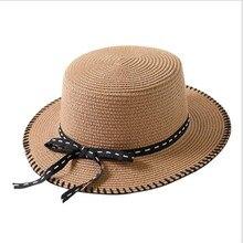 OZyc señora Boater sun caps cinta ronda plana sombrero de playa de paja  Sombrero de Panamá sombreros de verano para las mujeres . 94169ecdf88