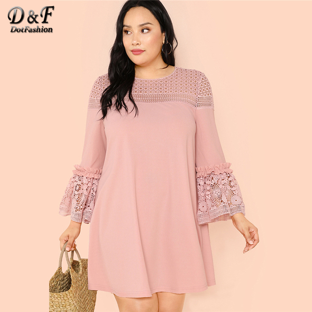 Dotfashion Plus Size Guipure Lace Insert Frill Trim Dresses Ladies Spring Fall Pink Elegant Flounce Sleeve A-Line Plain Dress