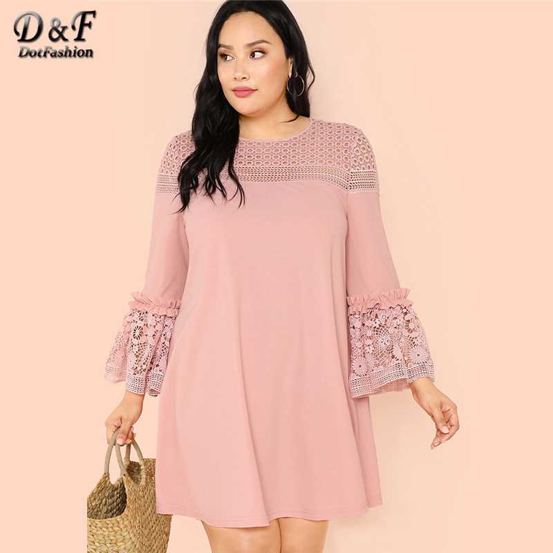 Dotfashion Plus Size Guipure Lace Insert Frill Trim Dresses Ladies Spring Fall Pink Elegant Flounce Sleeve A-Line Plain Dress
