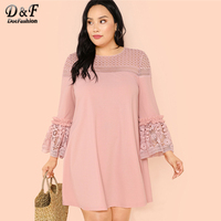 Dotfashion Plus Size Guipure Lace Insert Frill Trim Dresses Ladies Spring Fall Pink Elegant Flounce Sleeve A Line Plain Dress