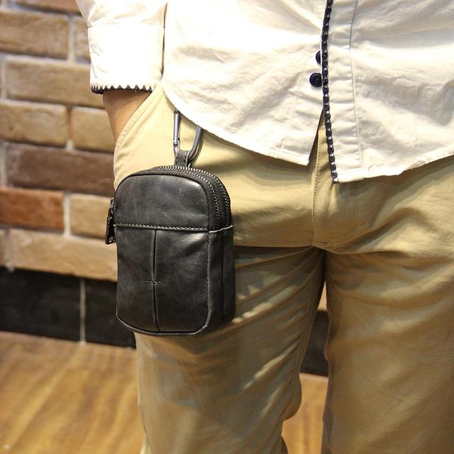Nuevo diseño portátil hombres Riñonera Bolso de La Cintura Militar bolsillos teléfono paquete de viaje Ocasional pequeño de Cuero marrón Retro