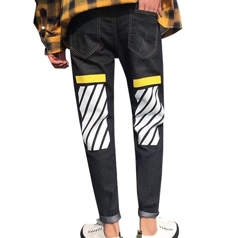 2018 skinny jeans hommes Piste Slim fit stripe imprimer Déchiré Conception Stretch pantalon hiphop cheville Zipper Jeans droite Pour Homme noir