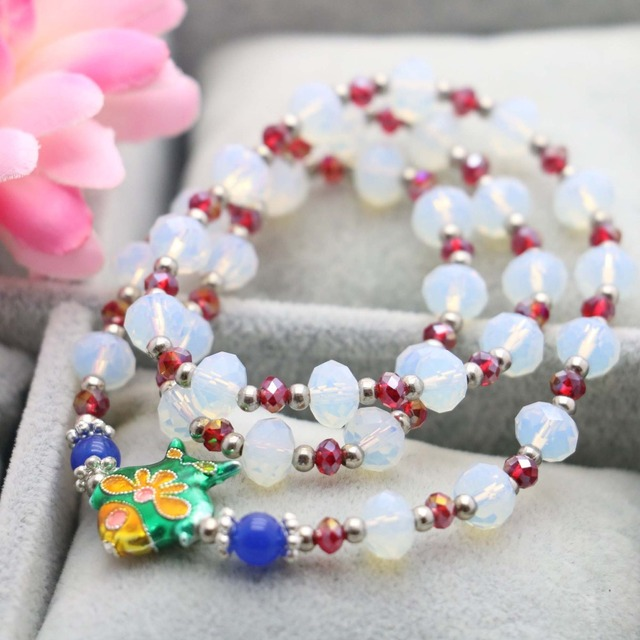 5*8mm Classic Prevalent Faceted Bracelet White Crystal Chalcedony hand chain Beads for women girls Tibet Silver Fish 3Rows