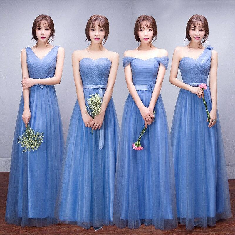 Chorus Slim soeurs robe de bal longue robe de demoiselle d'honneur femme bateau Nack longue bleu robe de demoiselle d'honneur élégant Vestido Azul Marino