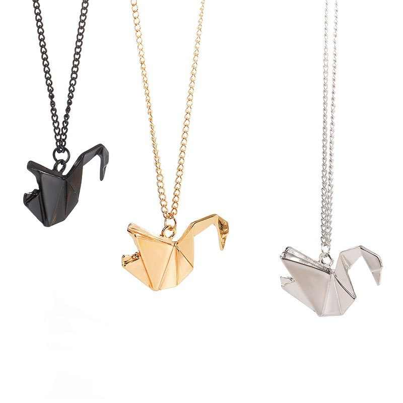 New Thousand Paper Cranes Hollow Dove Origami Pigeon Long Animal Necklace Bird Pendant Necklace