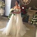 2016 сексуальные от-плечу оболочки свадебное платье со съемными поезда белого кружева тюль невесты свадебное Gwon