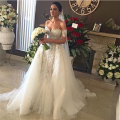 2016 Sexy Off The Shoulder Sheath Wedding Dress With Detachable Train White Lace Tulle Bride Bridal Gwon