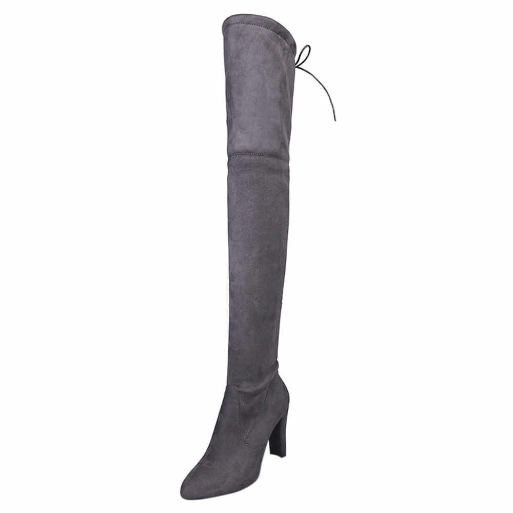 SAGACE 2018 ใหม่ผู้หญิงรองเท้ายืด Faux Suede ต้นขาสูงรองเท้าแฟชั่นเซ็กซี่เข่ารองเท้าสาวส้น botas