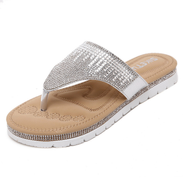 b1a944a5821d5f NEW Korean Women Rhinestone Thong Sandals Comfortable Flat Shoes Foreign  Trade Big size 41
