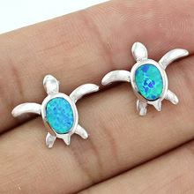 HAIMIS Wholesale Retail 5X7mm Synthetic Blue Fire Opal Stud Earrings For Girls  Free Shipping