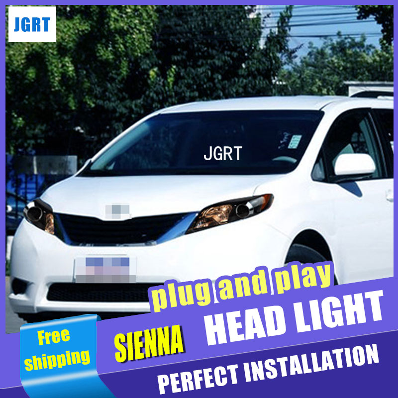 Car Styling Headlight assembly 2011-2014 for Toyota sienna DoubleU Angel Eye LED DRL Lens Double Beam H7 hid kit with 2pcs. hireno headlamp for 2003 2009 toyota land cruiser prado headlight assembly led drl angel lens double beam hid xenon 2pcs