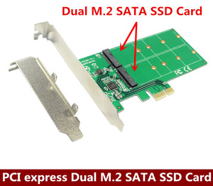Pci Express Dual M.2 Sata Ssd Card Pcie Naar 2x Ngff B + M Sleutel Slot Adapter Met Pci-E Low profiel Beugel ASM1061