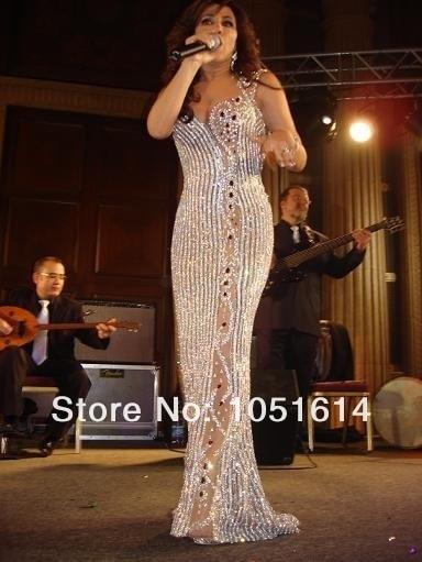 De lujo Por Encargo Cantante Najwa Karam Vestido Sin Mangas Sexy Completo de La Astilla Con Cuentas Cristales de Cuerpo Entero de La Sirena Vestidos de La Celebridad