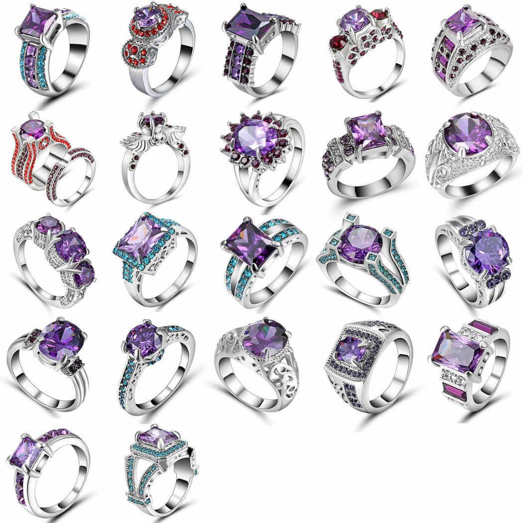 แฟชั่นเงินทองสีดำสีม่วงคริสตัล Zircon แหวนหญิงแหวนหมั้นแหวนเครื่องประดับขนาด 8