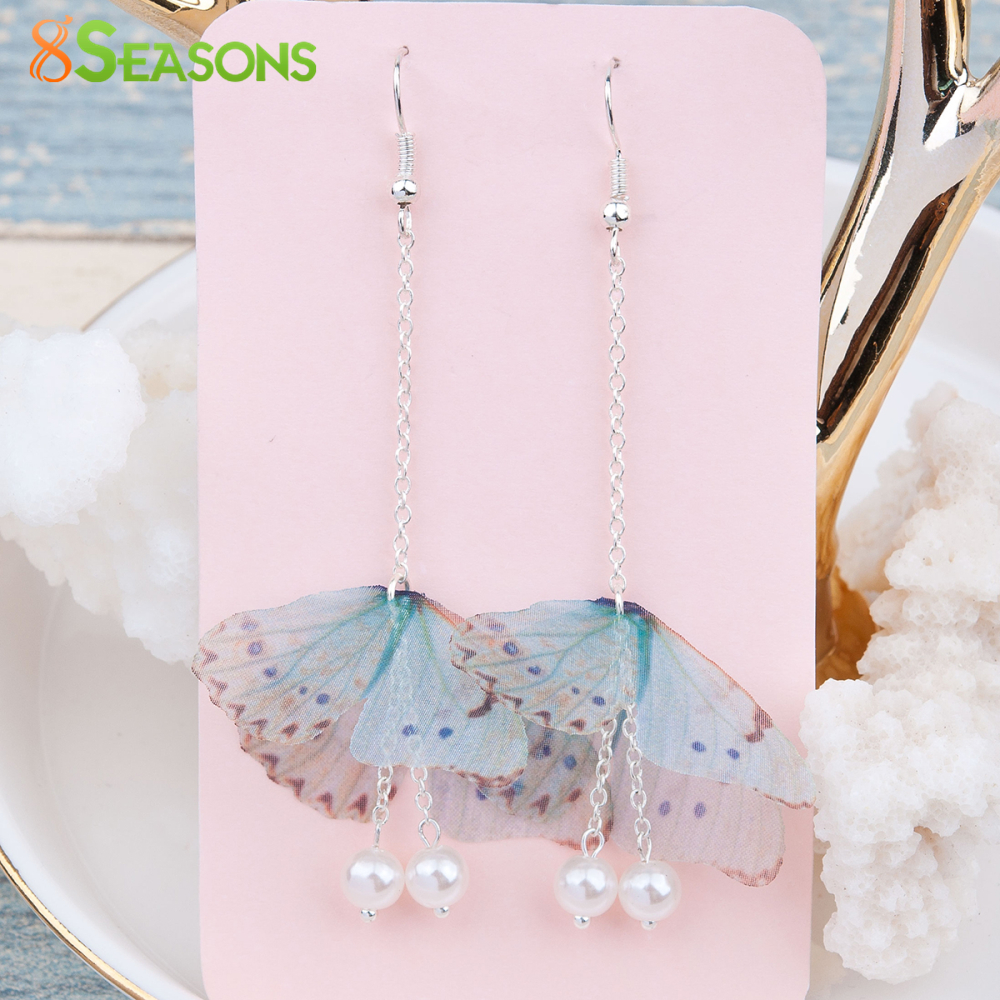 8SEASONS Handmade Organza Ethereal Butterfly Earrings Silver Color Gold Color Green Blue Imitation Pearl Red Glitter, 1 Pair