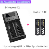 Golisi 2pcs S30 IMR 18650 3000mah MAX 35A E CIG rechargeable battery for VAPE with Nitecore New I2 Digi charger LCD Intelligent