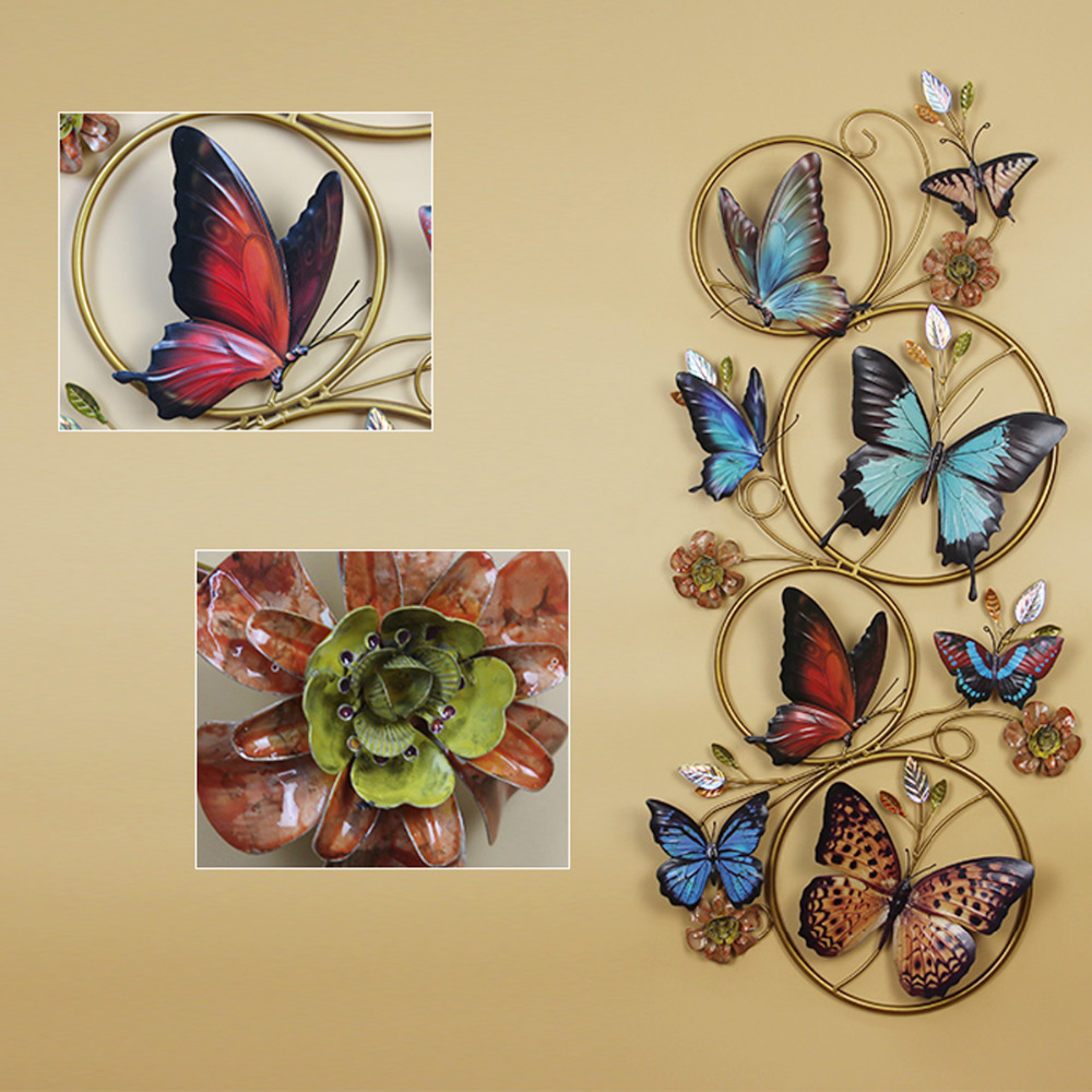 Collections Butterfly and Floral Metal Spring Wall Art Decor, Iron ...