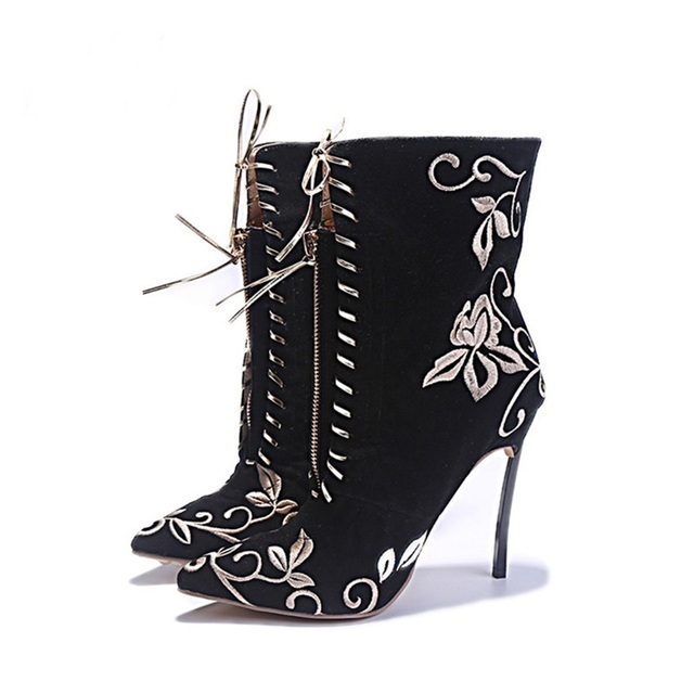 64c895c29a17 Spring Boots Women Ankle Printed Flower Boots High Heels Sexy Peep Toe  Booties Black Lace Up Stiletto Ankle Boots Botines Mujer