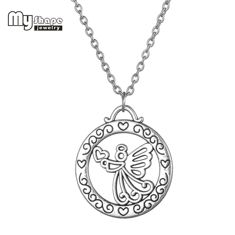 my shape 18 Chain Setting Long Necklace Antique Silver Plated Guardian Angel Circle Pendant Necklace for Girls Women