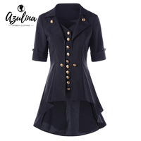 AZULINA High Low Buttoned Tunic Women Coats And Jackets 2017 Autumn New Fashions Turn Down Collar