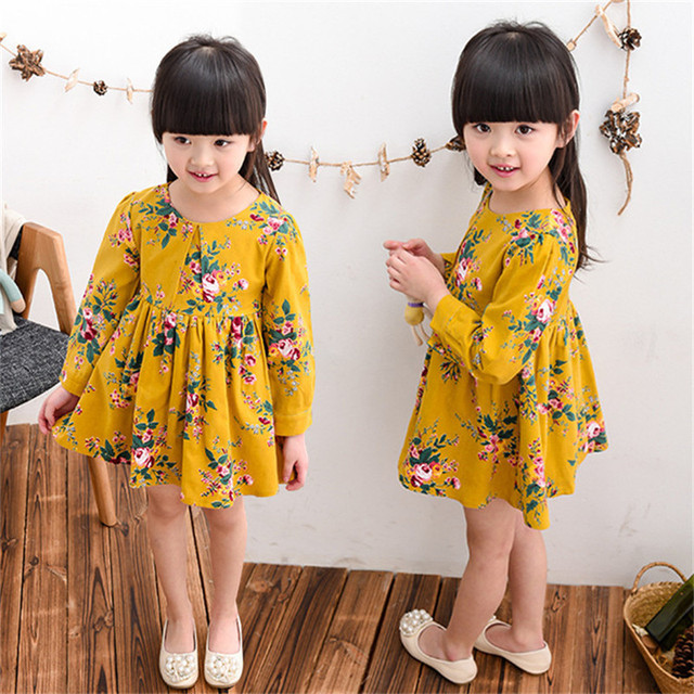2016 girls lovely Chinese style full version of the flowers long sleeved dress children's dress girls clothes summer dress Q116