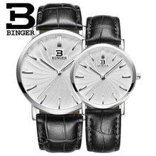 Ginebra binger mens relojes de primeras marcas de lujo ultra delgado reloj de cuarzo amantes 2017 de negocios masculino del relogio banda de cuero